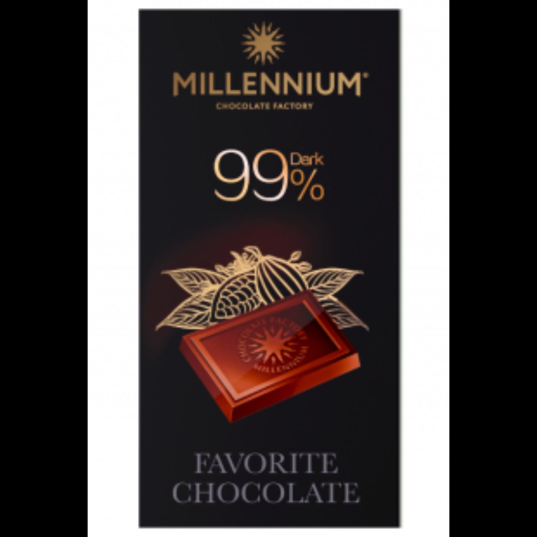Millennium 99% Dark Chocolate Bar 100G