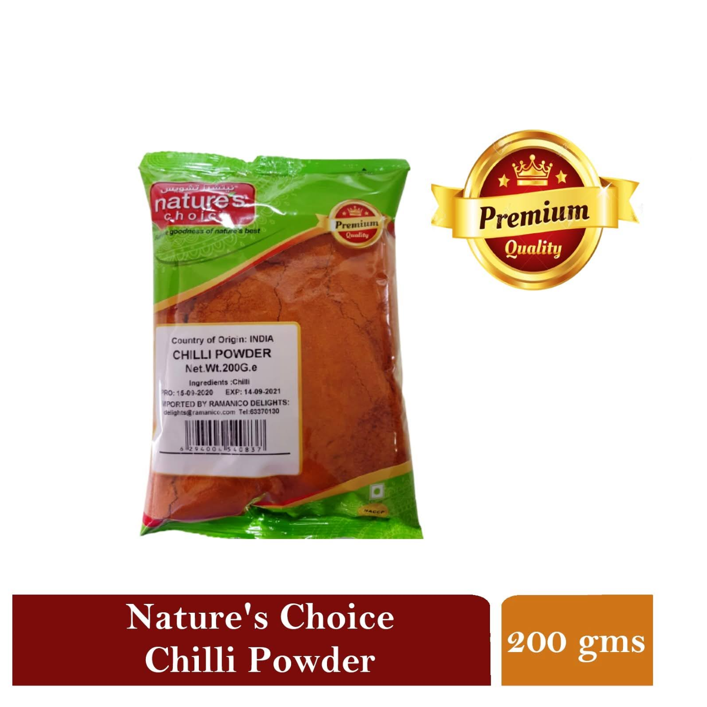 NATURE'S CHOICE PREMIUM QUALITY CHILI POWDER 200G