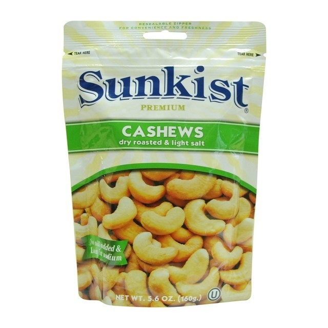 Sunkist Premium Cashews Dry Roasted & Light Salt