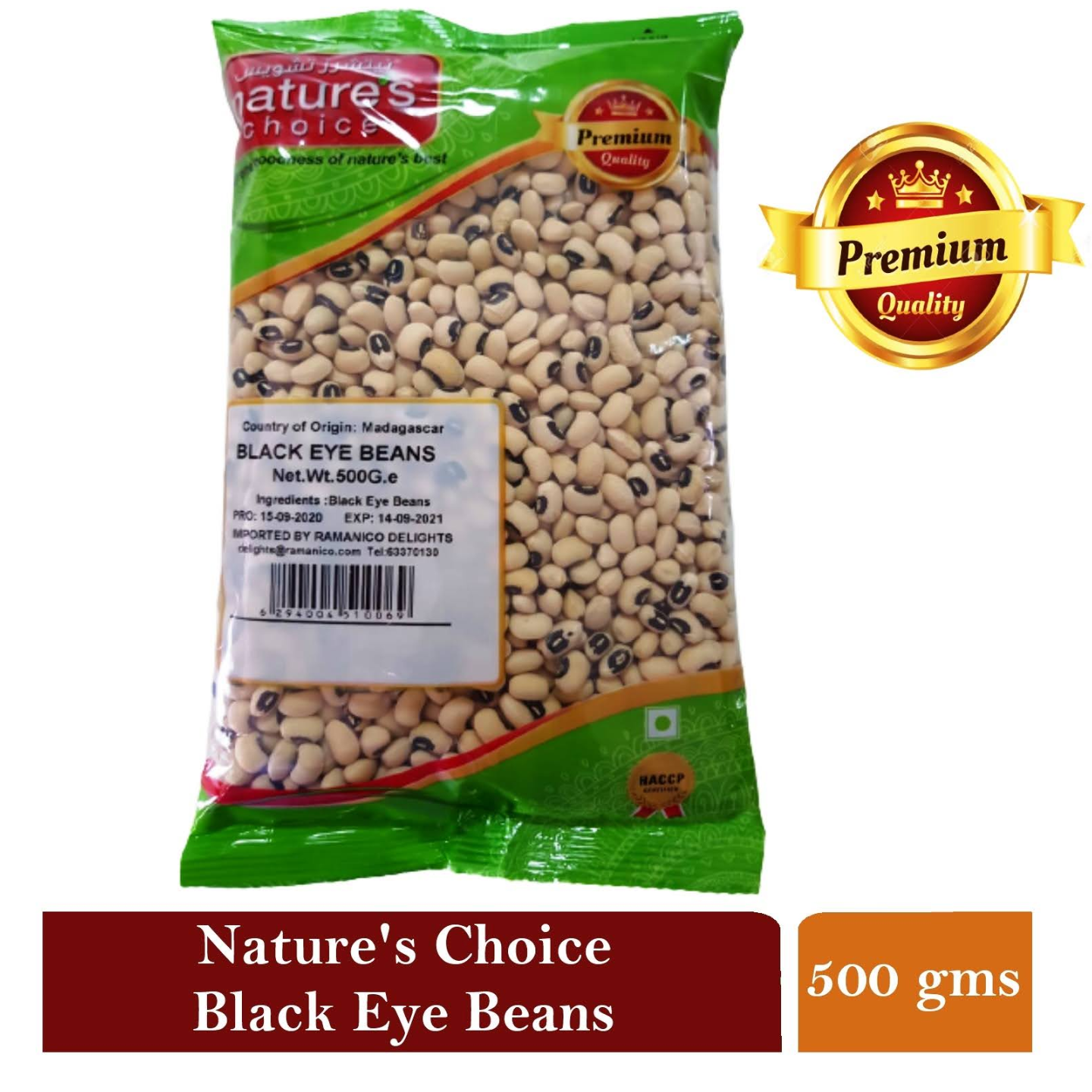 NATURE'S CHOICE PREMIUM QUALITY BLACK EYE BEAN 500G