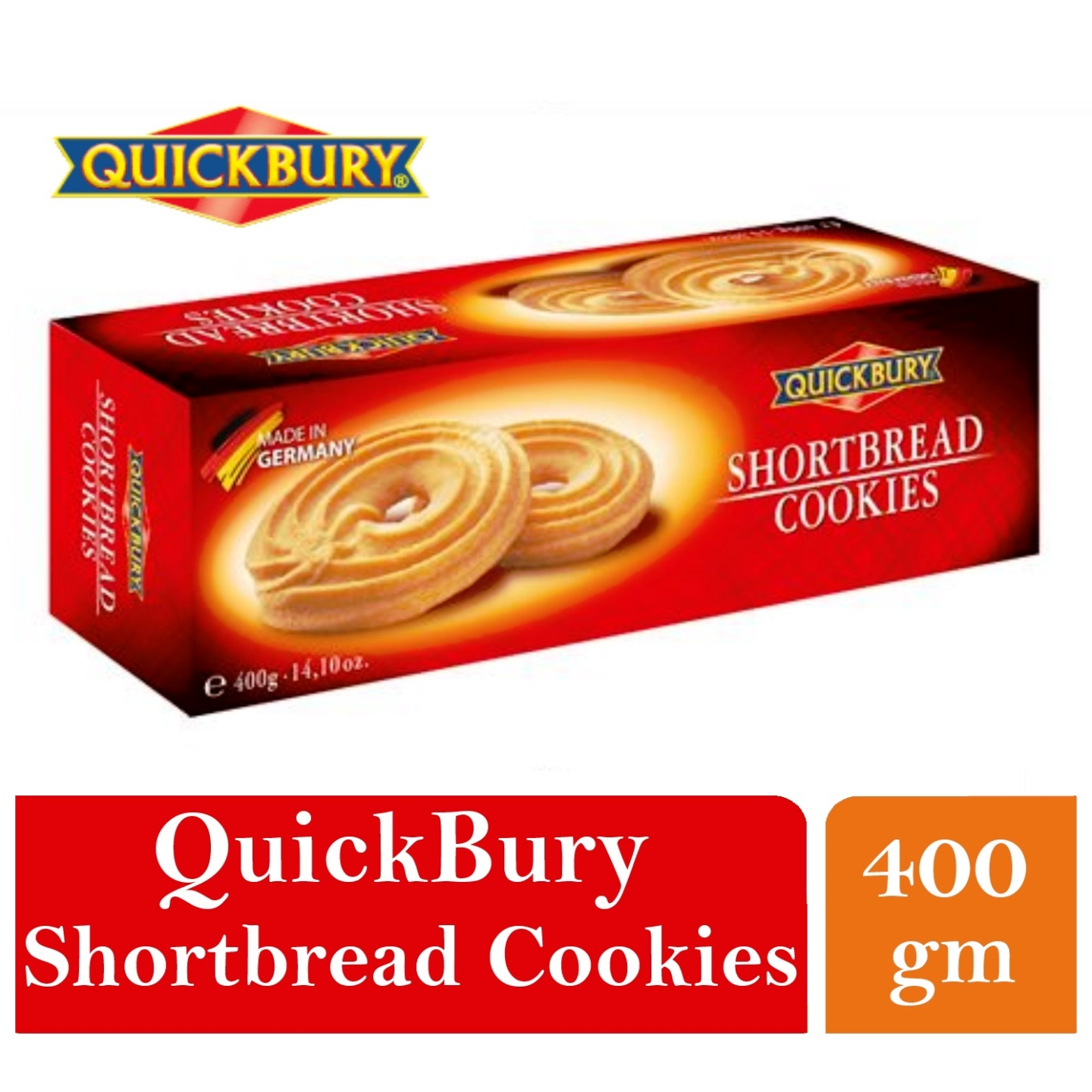 Quickbury Short Bread Cookies 1 x 400gm