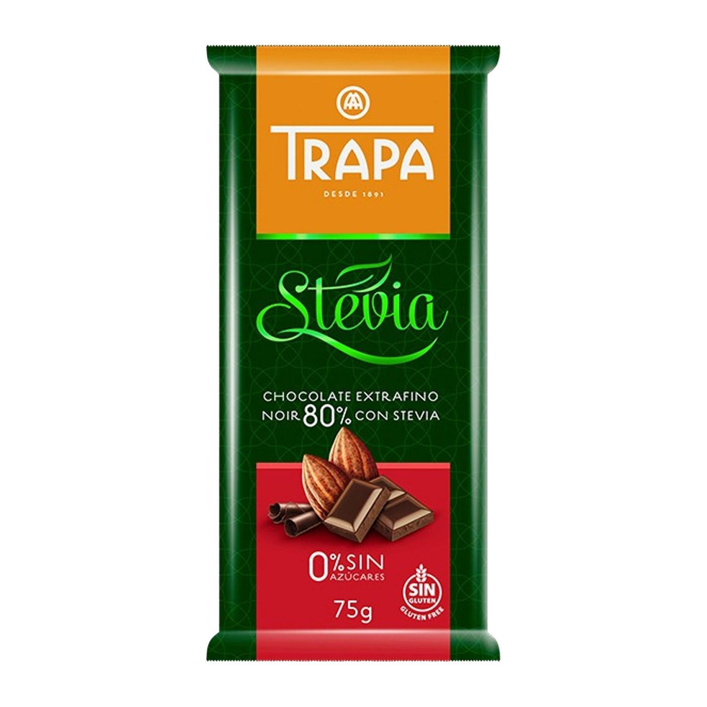 Trapa Sugar Free Dark Chocolate 80 with Stevia - Gluten