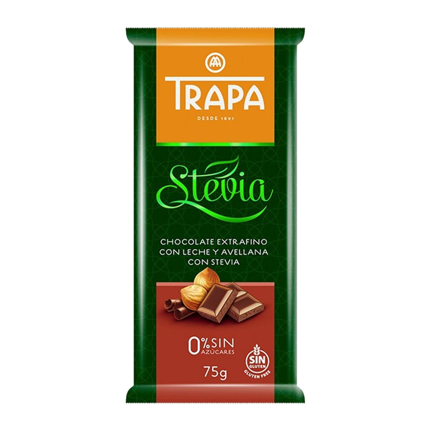 Trapa Sugar Free Hazelnut Milk Chocolate with Stevia - Gluten Free