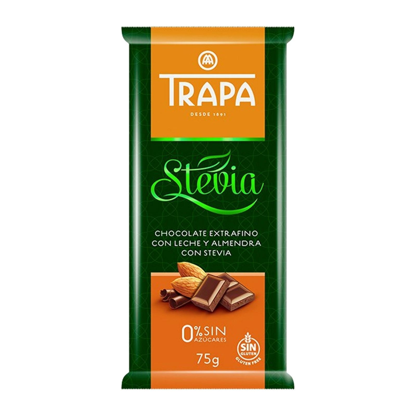 Trapa Sugar Free Almond Milk Chocolate with Stevia - Gluten Free