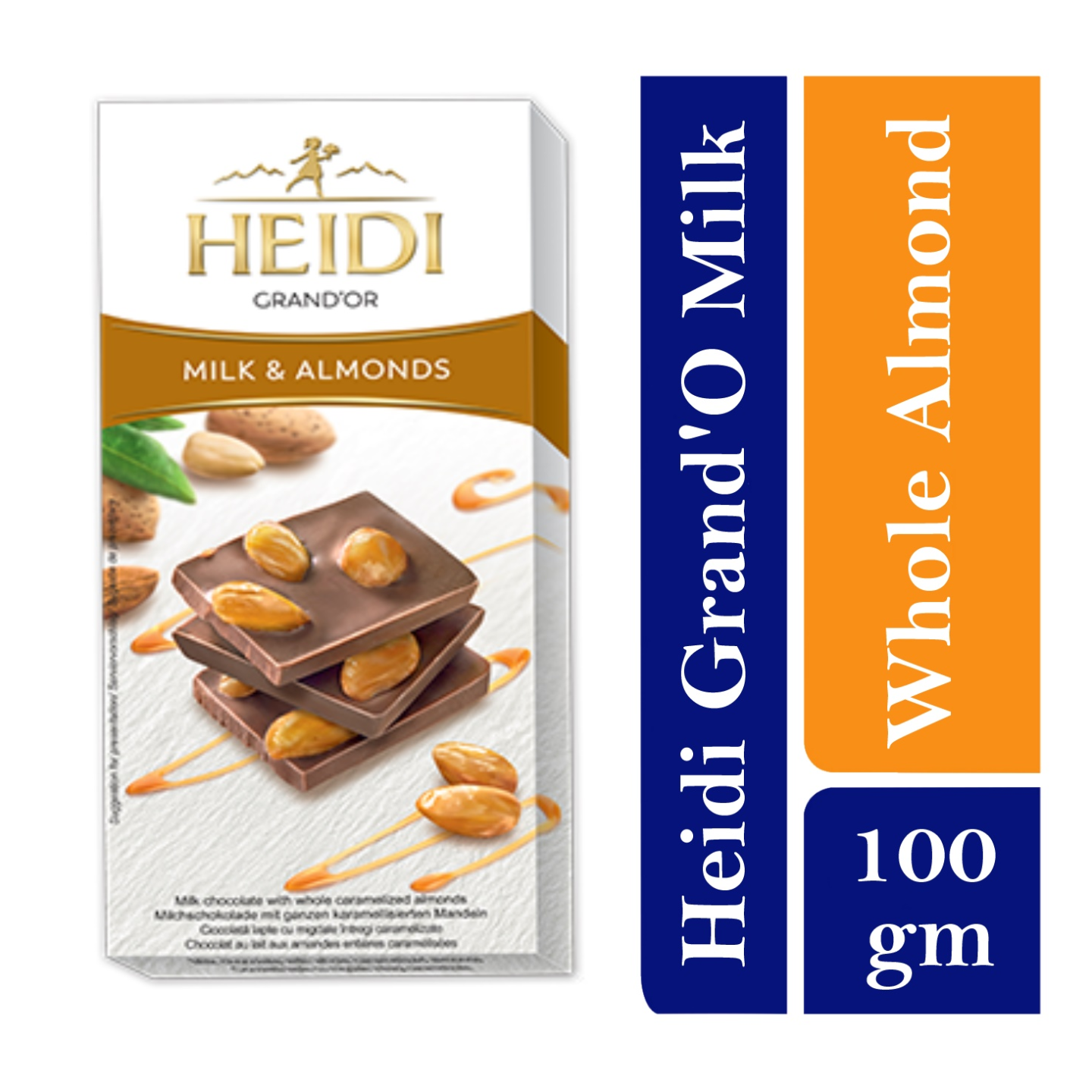 Heidi GrandOr Milk Chocolate bar with whole caramelized Almonds
