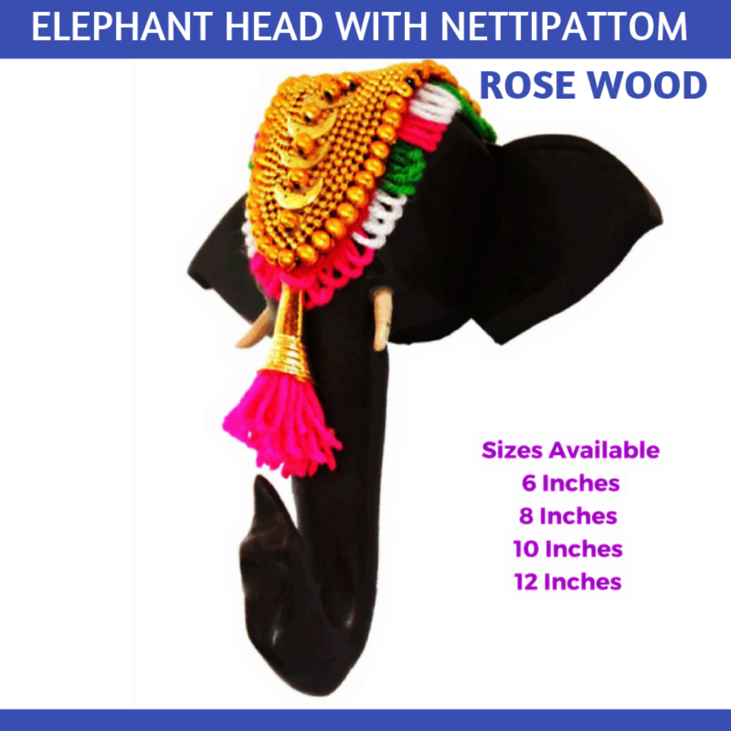 Elephant Head with Nettipattom - Rosewood