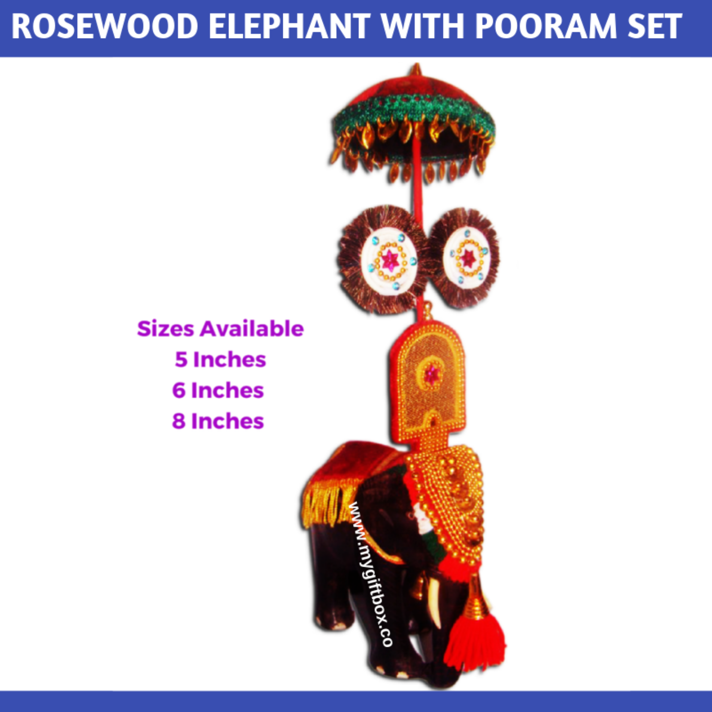 Elephant with Pooram Set - Rosewood