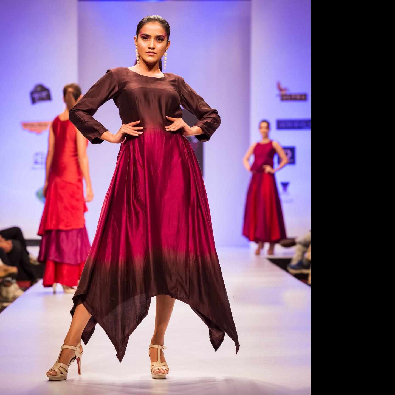 Silk Chanderi  Ombre Dyed Assymetrical Hem Dress