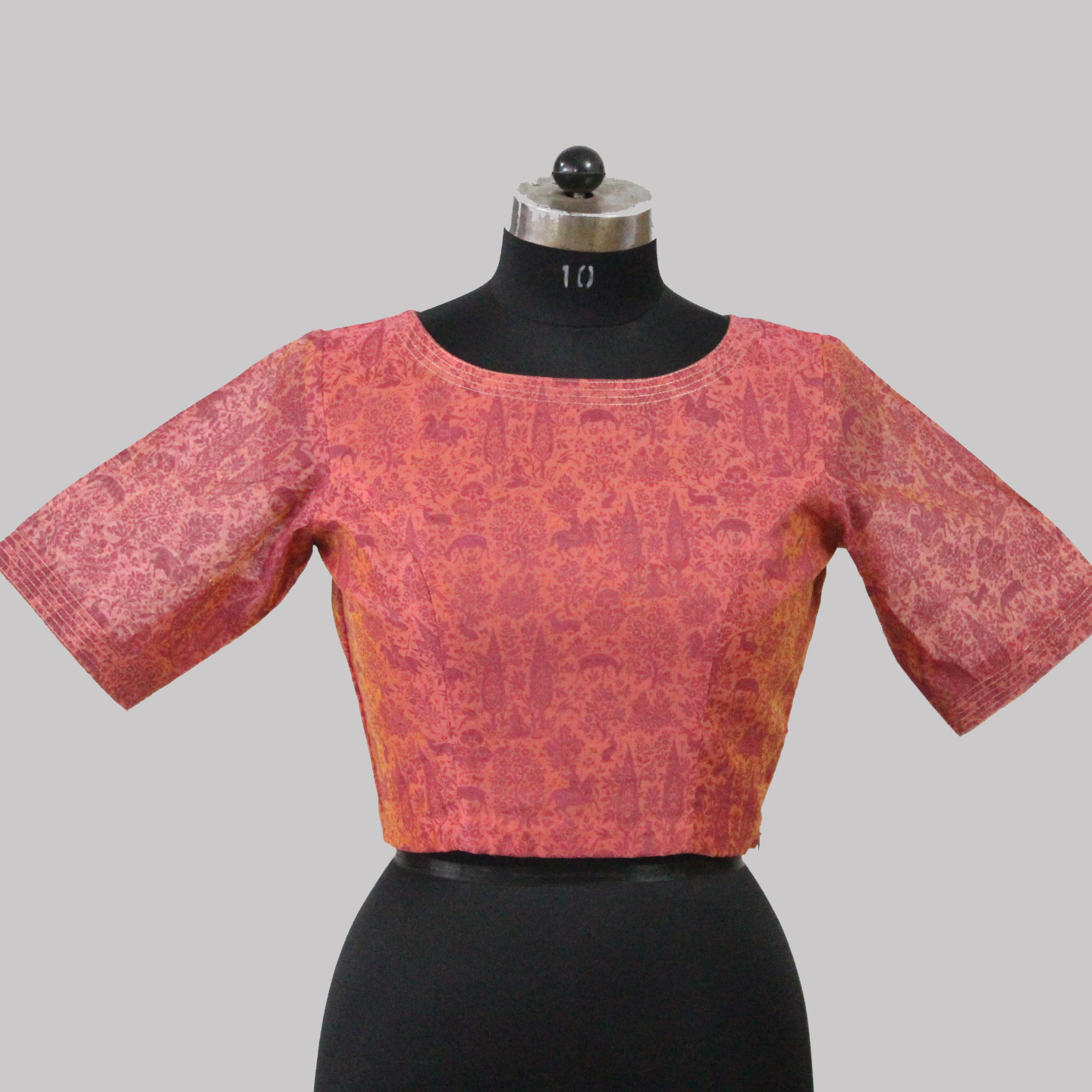 Pink Boat Neck Chanderi Printed Blouse