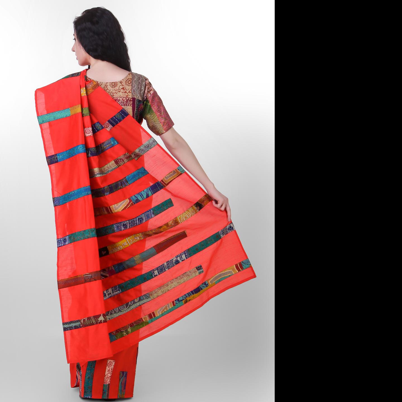 Red Dupion Kantha Stripe Applique Saree