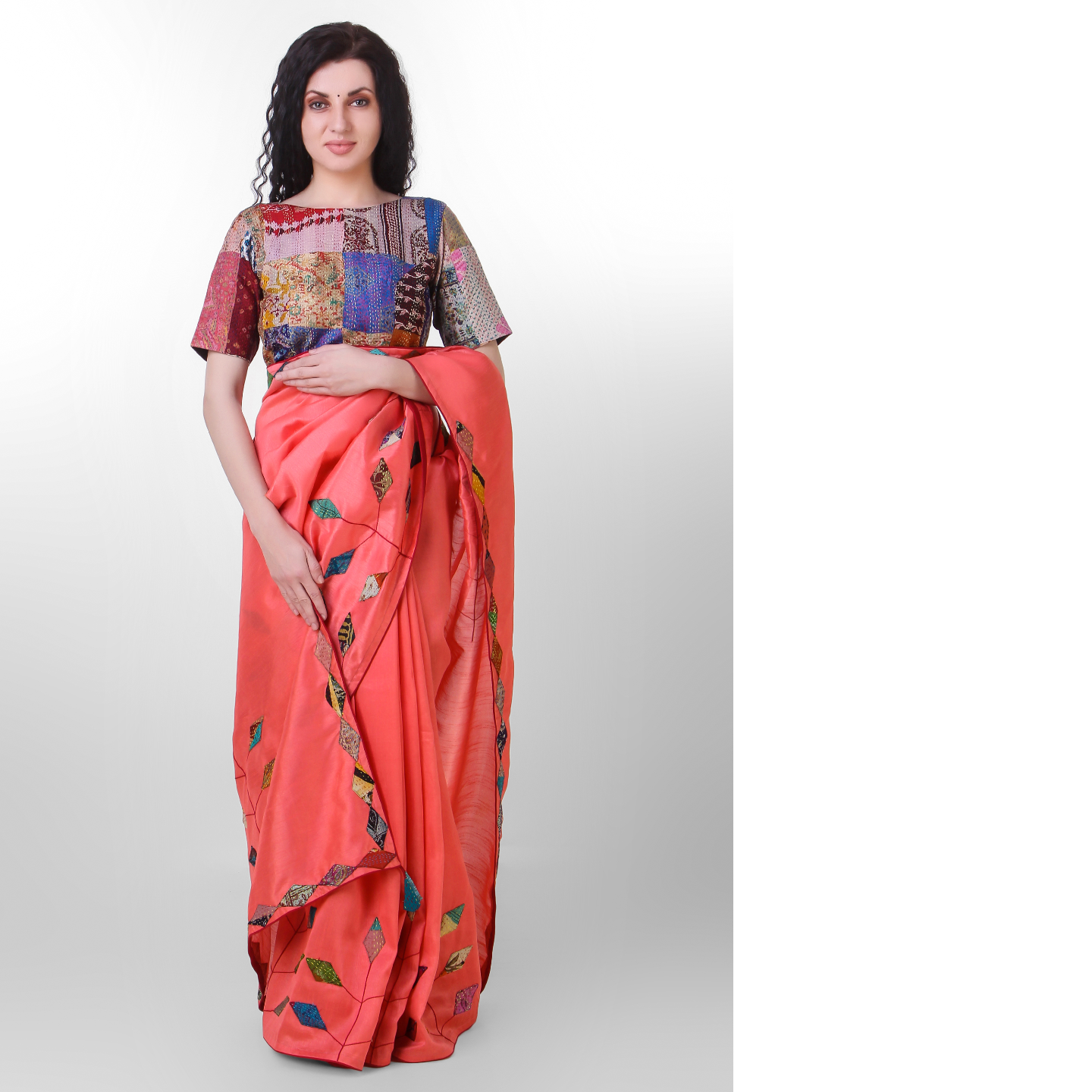 Peach Dupion Silk Kantha Applique Saree
