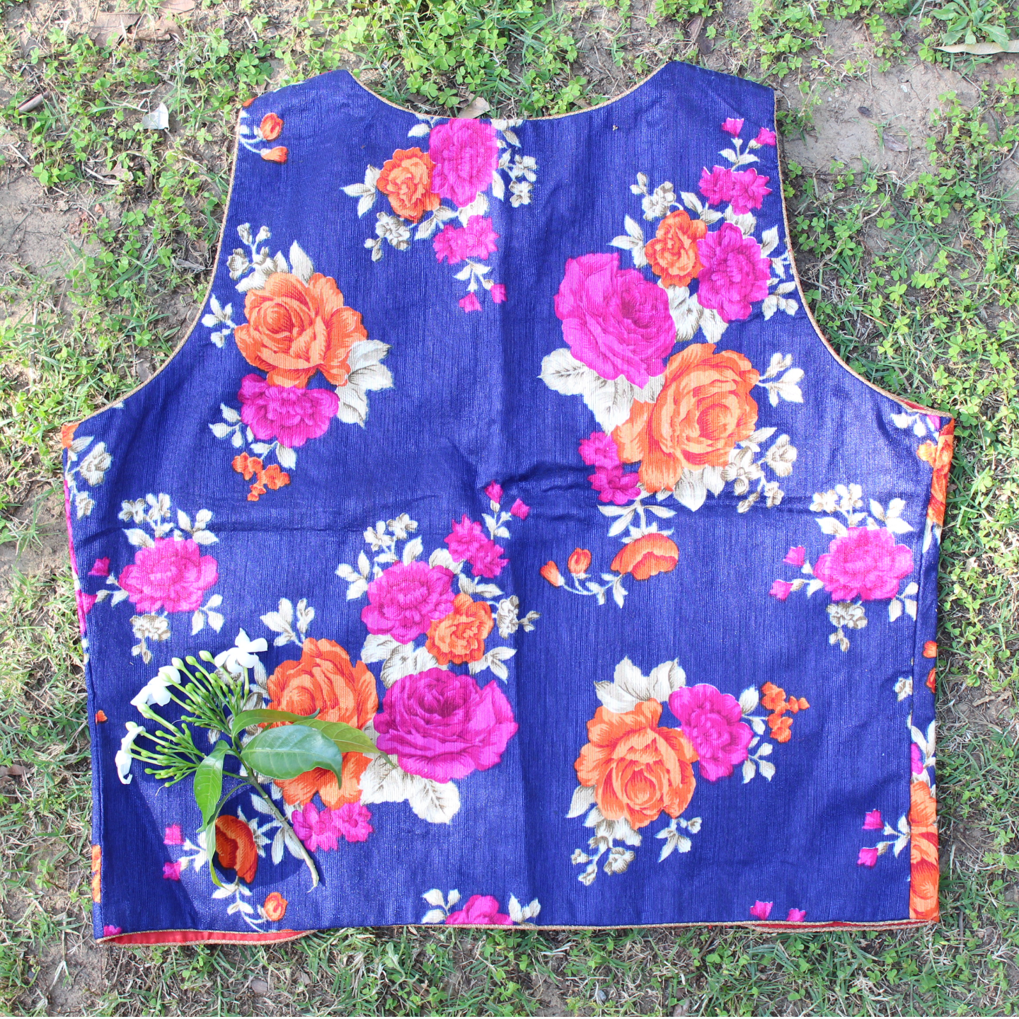 Blue Floral Printed Waist Coat
