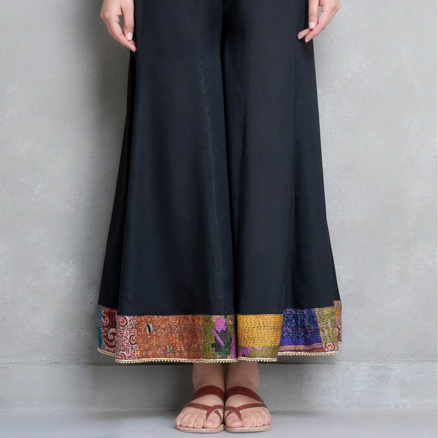 Black Cotton silk Palazzo Pant with Kantha Belt (Set of 2)
