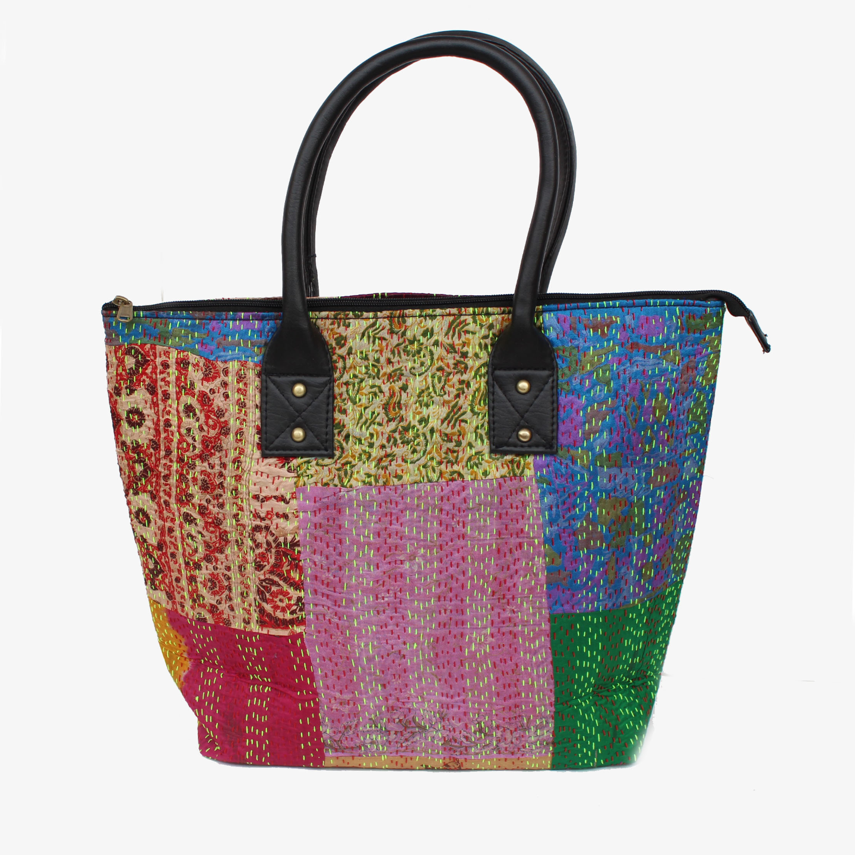 Vintage Silk Kantha Tote Bag