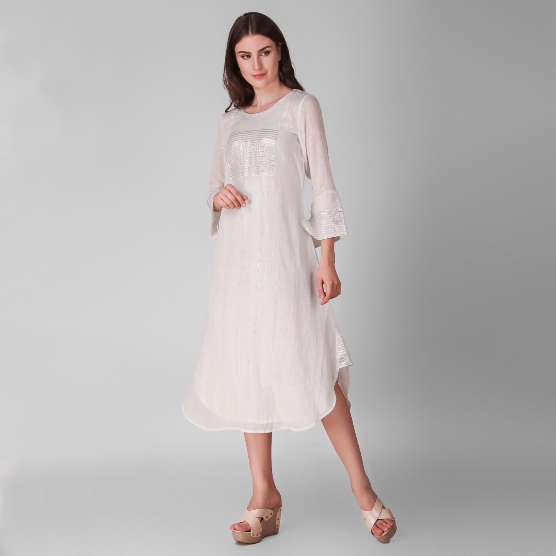 Ivory Cotton Lurex Patch Dress - Set Of Two