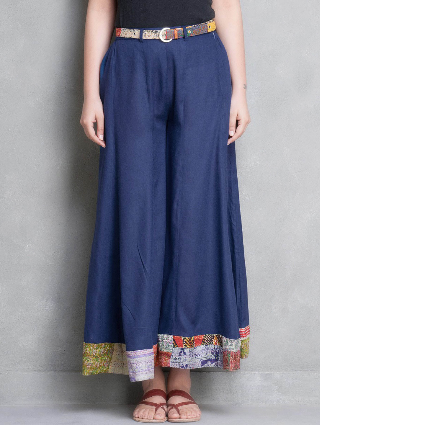Blue Cotton Silk Palazzo Pant with Kantha Belt (Set of 2)