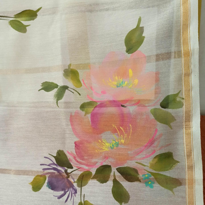 Hand Painted Floral bouquet Handwoven Indian Cotton StoleDupatta