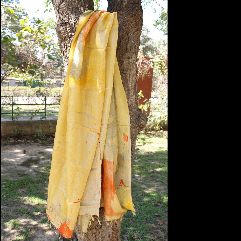 Banana Silk Yellow Orange StoleDupatta