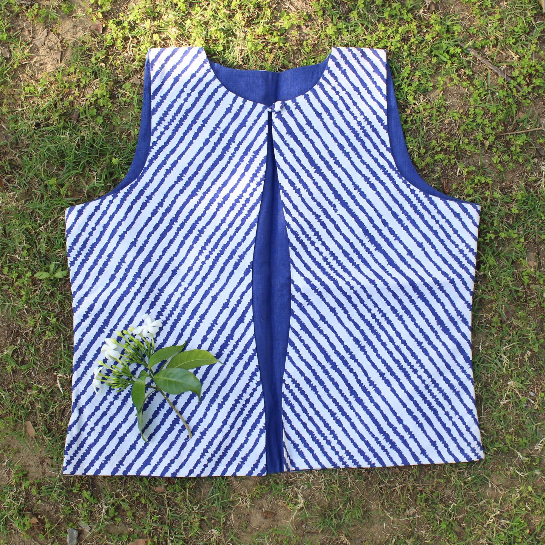 Blue Stripe Printed Cotton Waistcoat