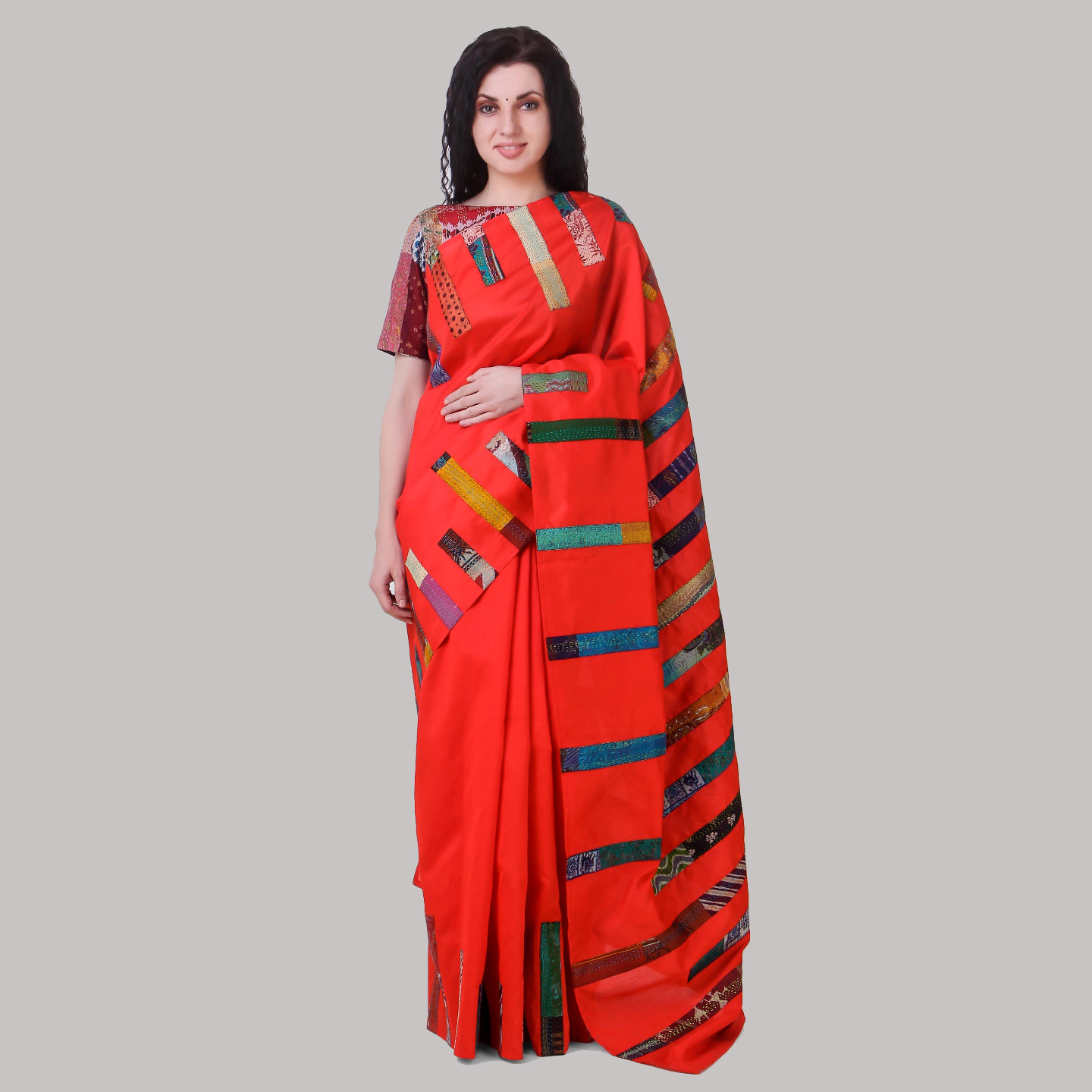 Red Dupion Kantha Stripe Applique Saree