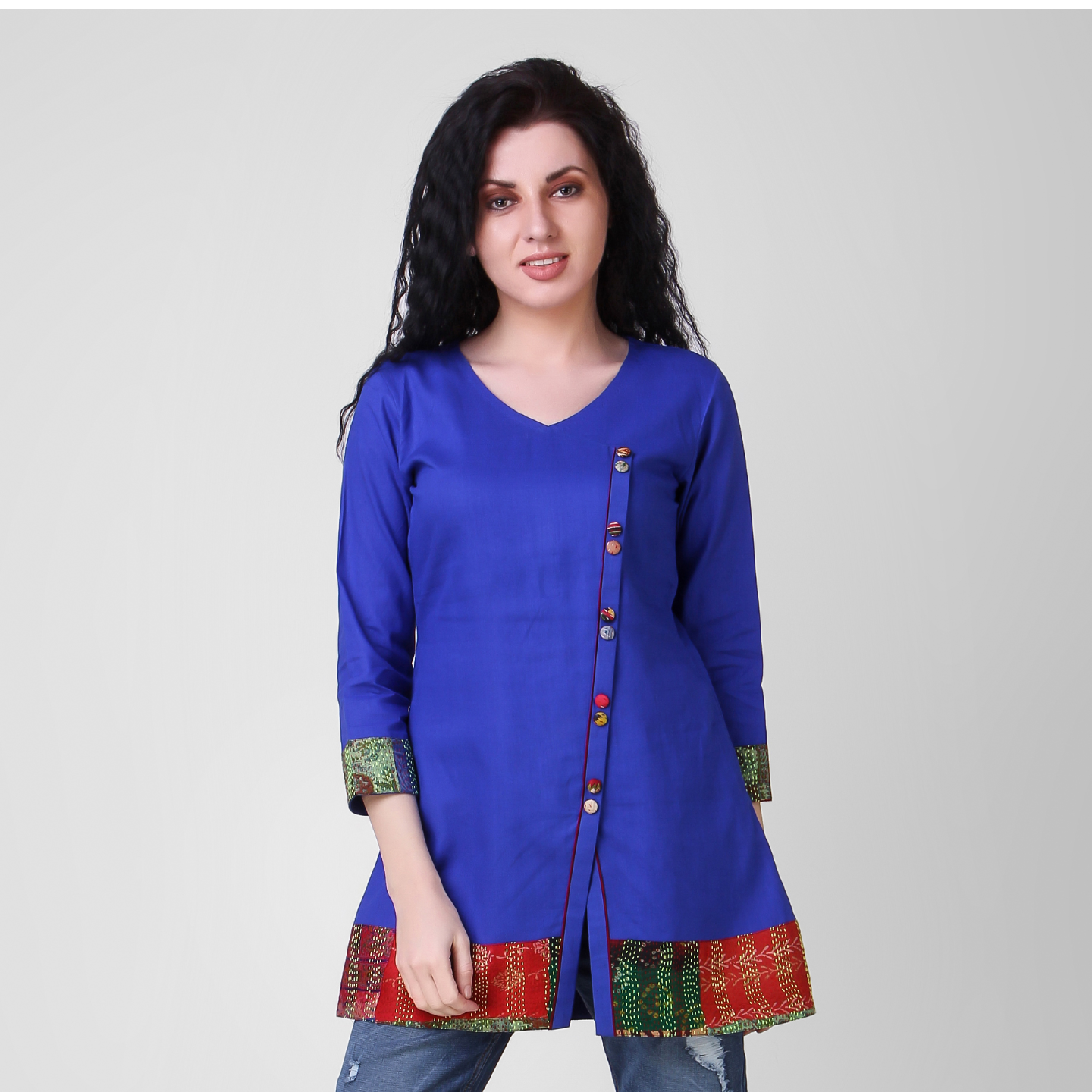 Blue Cotton-silk Top with Kantha Embroidery