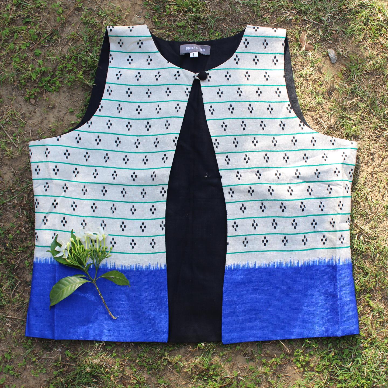 Printed Stripe Border Silk Waistcoat