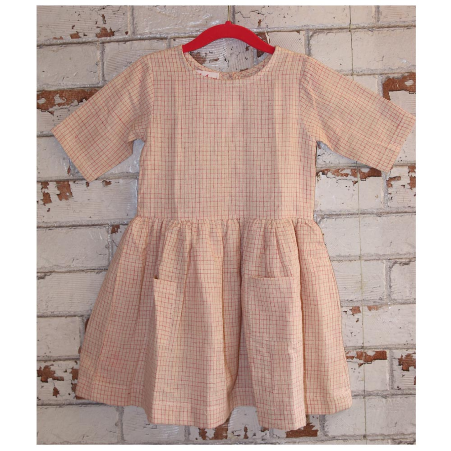 Beige Checks Handloom Organic Kala Cotton Girls Dress