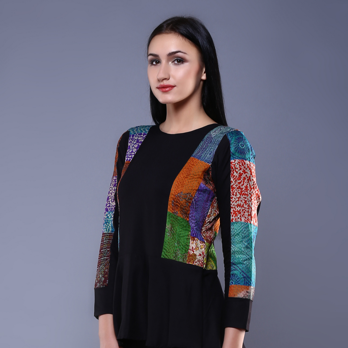 Black Kantha Peplum Top