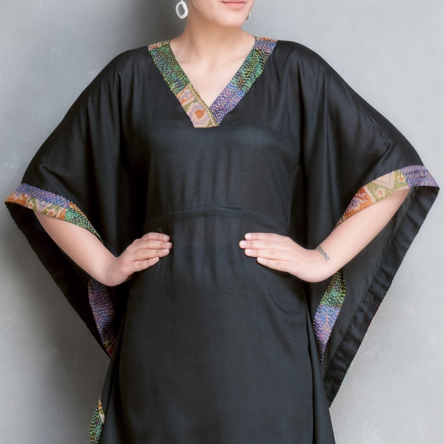 Black Kantha Embroidered Cotton-Silk Kaftan