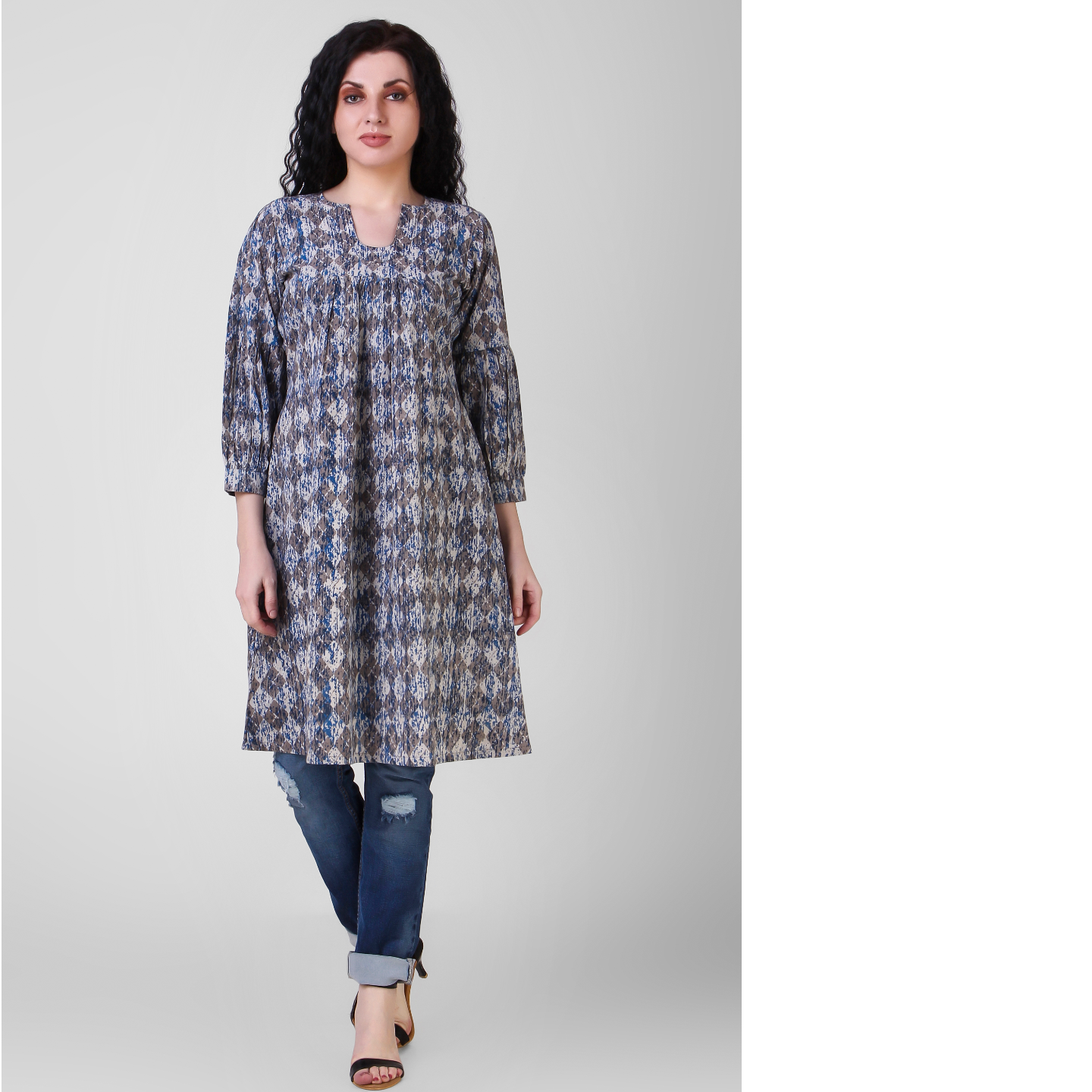 Indigo Dabu-printed Gathered Cotton Tunic