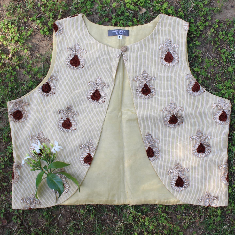 Brown Kota Doria Gota Embroidered Waistcoat