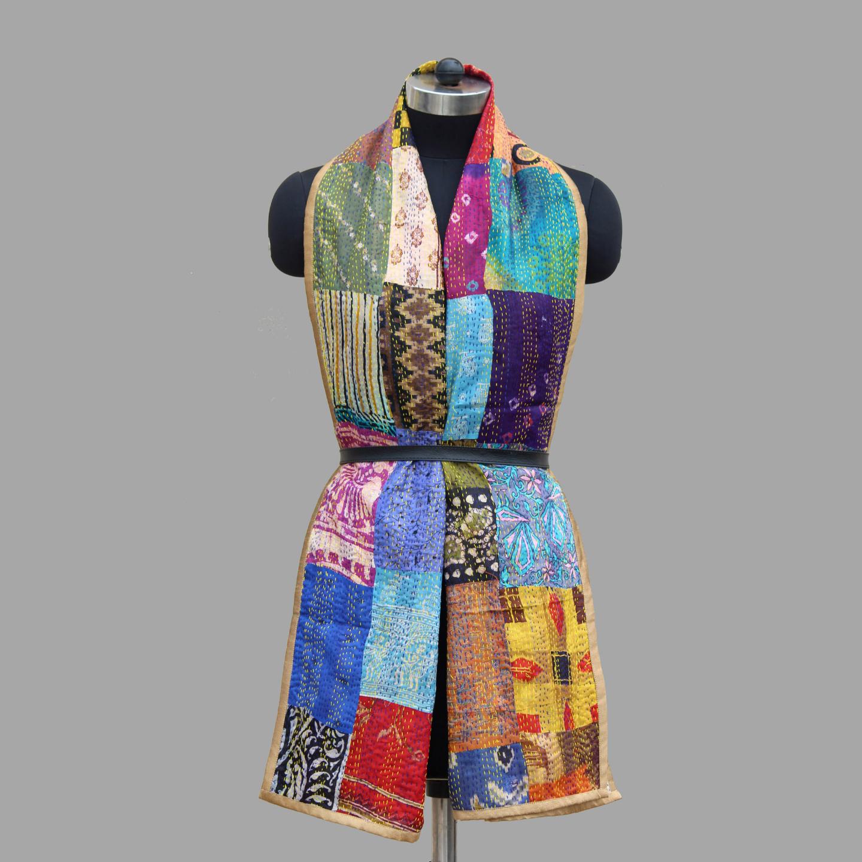 Reversible Kantha Silk Patchwork Stole