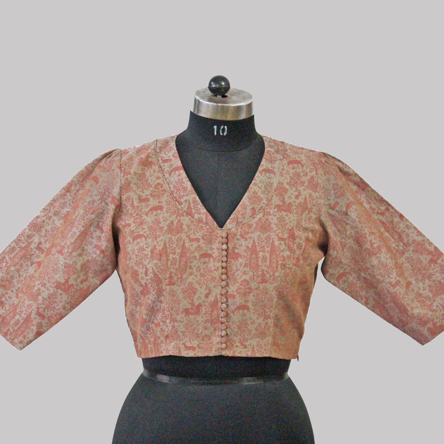 Grey-Pink Printed Chanderi Blouse With Puff Sleeves