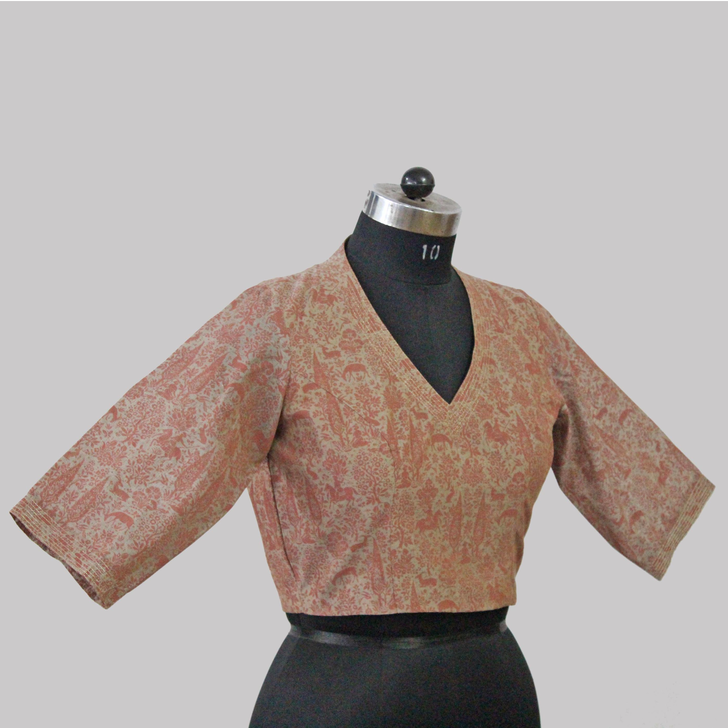 Grey-Pink Chanderi Printed Blouse With Zari
