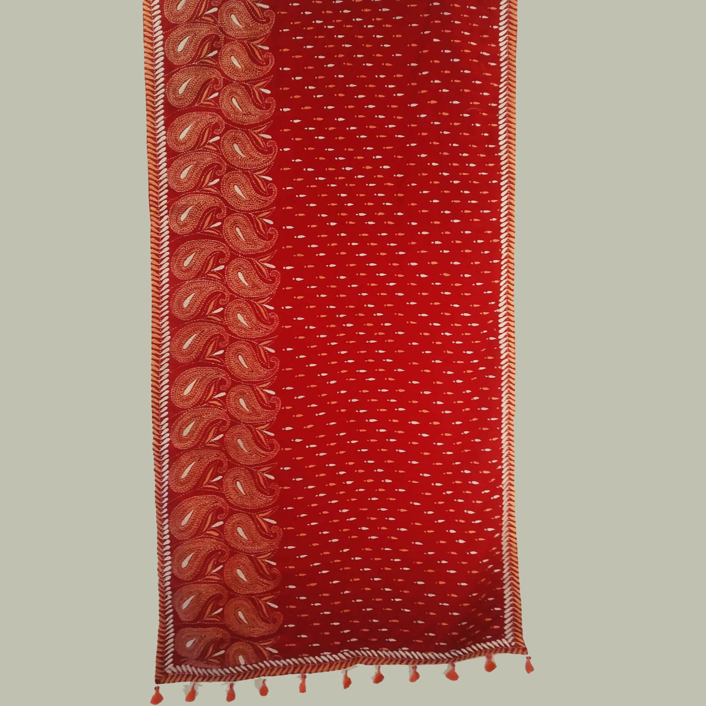 Red Cotton Hand Kantha Embroidered Dupatta