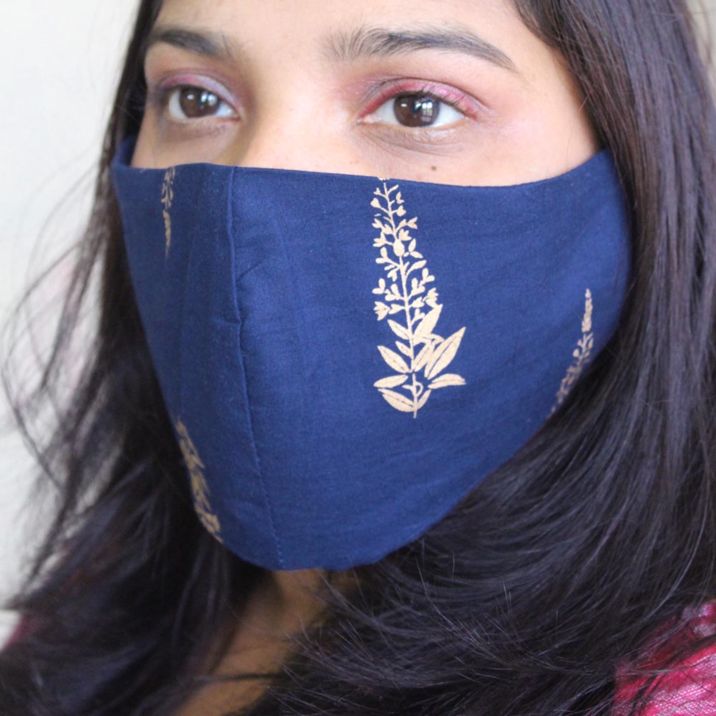 Reusable Cotton Gold Printed Mask Pack of 4