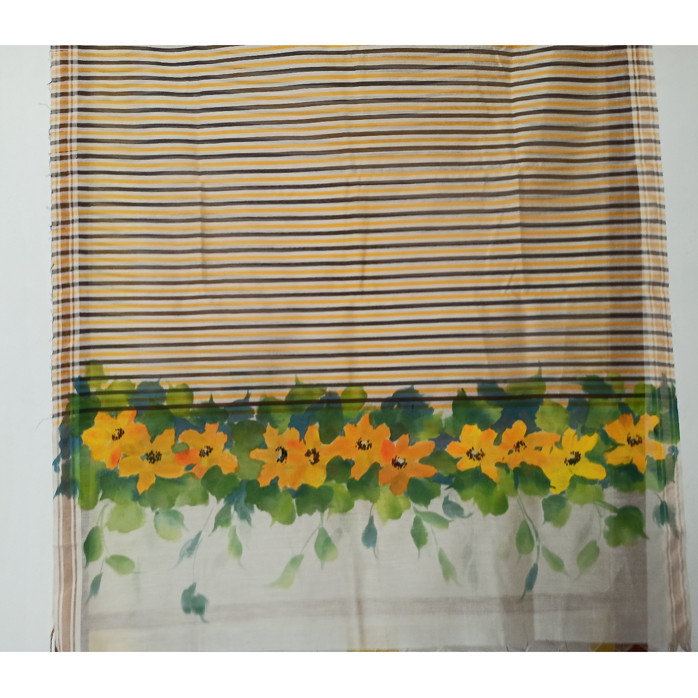 Yellow Hand Painted Floral Handwoven Indian Cotton StoleDupatta