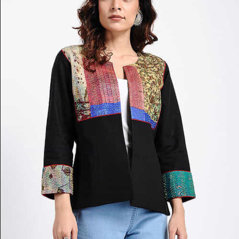 Black Kantha VintageSilk Patch Jacket