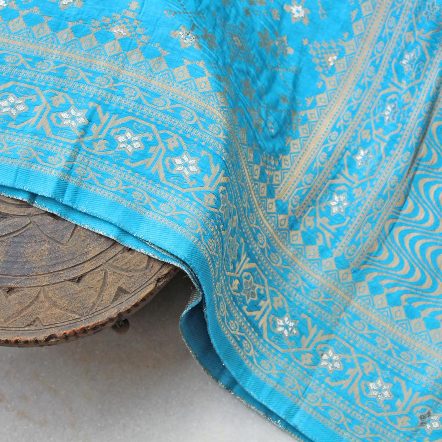Blue Banarsi Brocade Indian Ethnic Dupatta