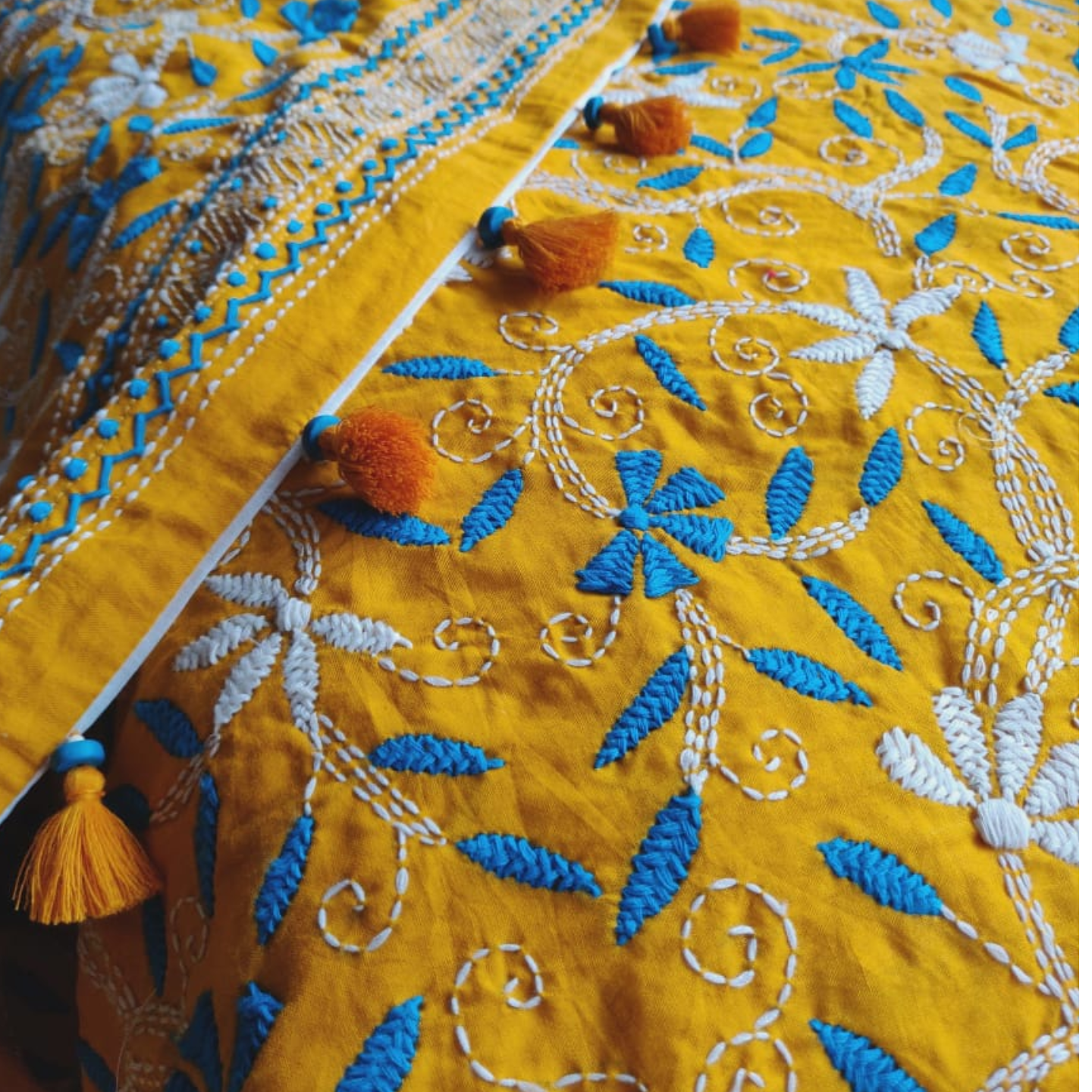 Yellow Cotton Hand Kantha Embroidered Dupatta