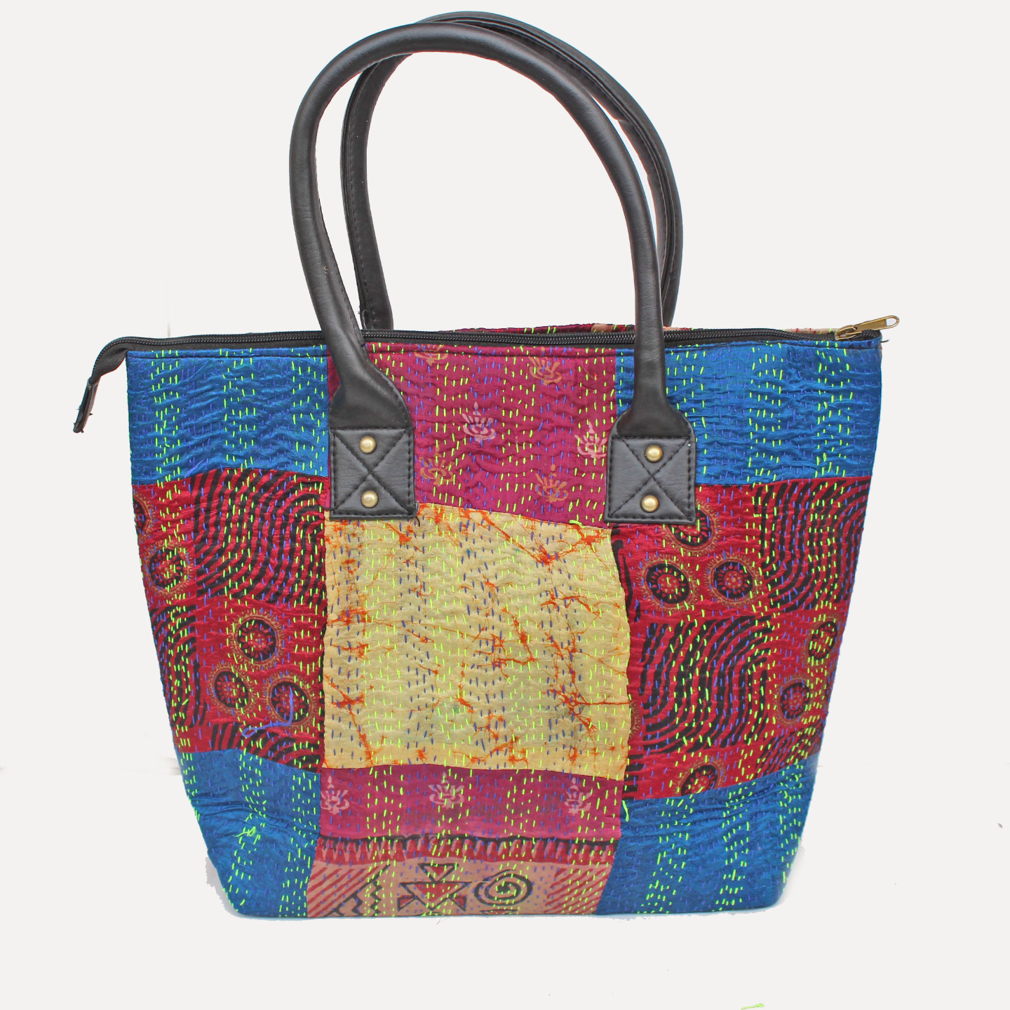 Vintage silk kantha Red Blue Tote Bag