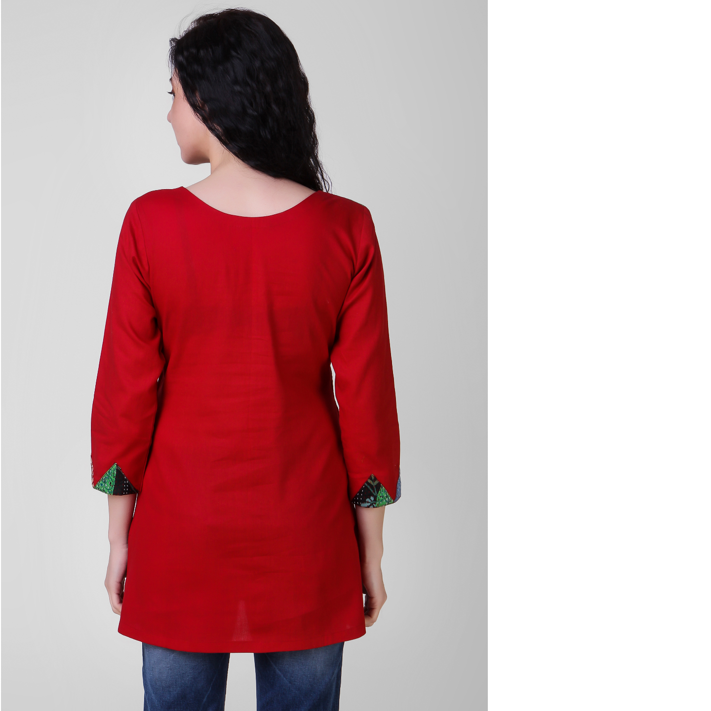 Red Cotton-silk Top with Kantha Embroidery