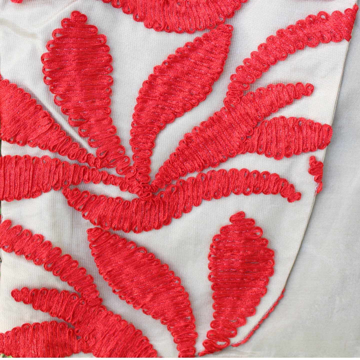 Beige Red Ribbon Embroidered Waistcoat