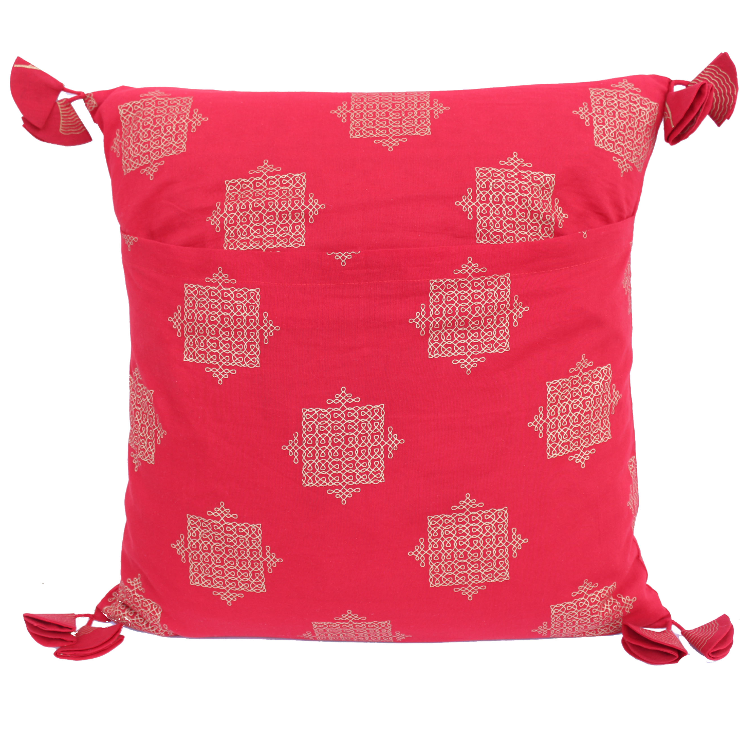 Red Gold Printed Indian Ethnic Cushion Covers