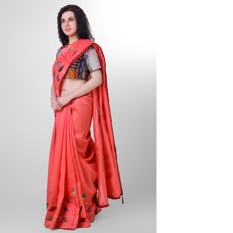 Peach Dupion Silk Kantha Applique Saree