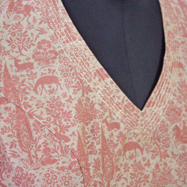Grey-Pink Chanderi Printed Blouse With Zari