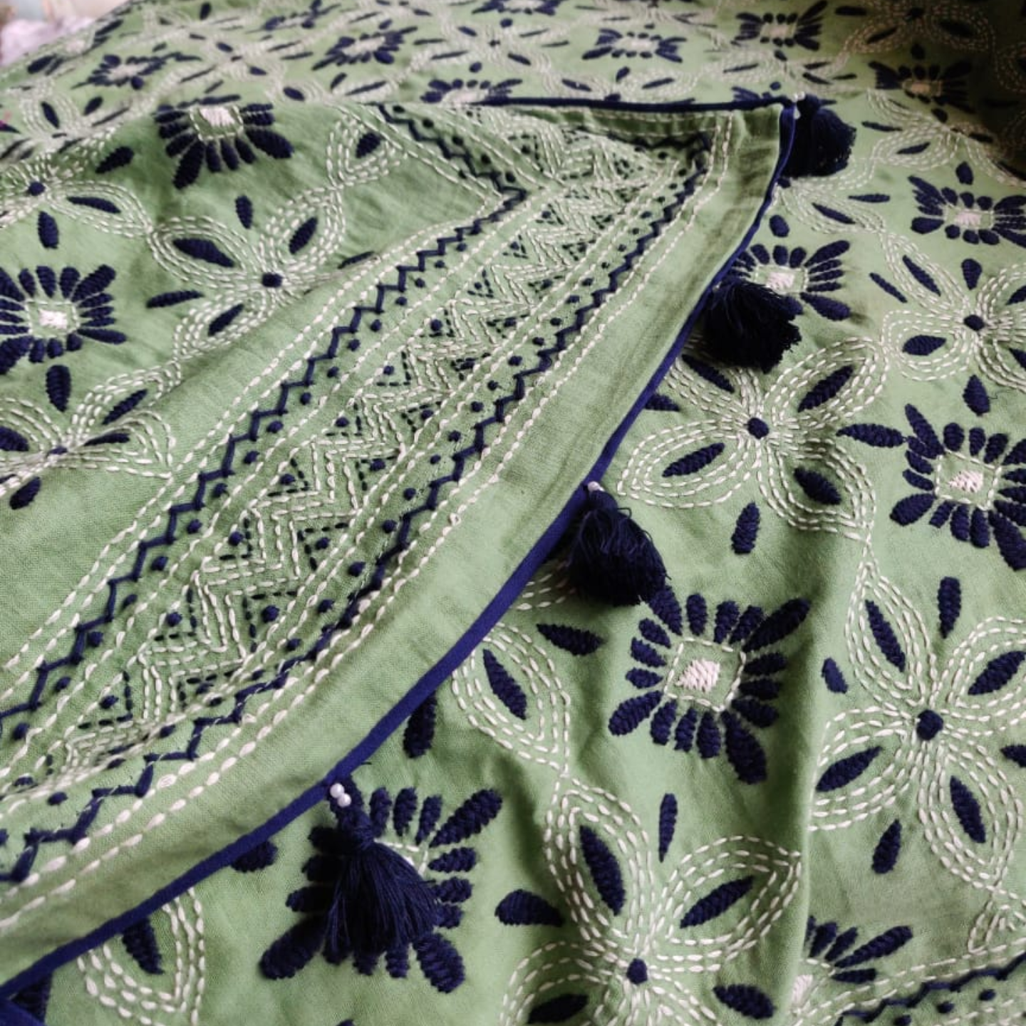 Green Cotton Hand Kantha Embroidered Dupatta