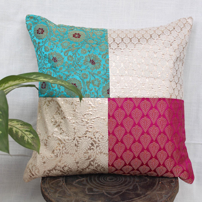 Green Blue White Brocade Cushion Cover 16x16