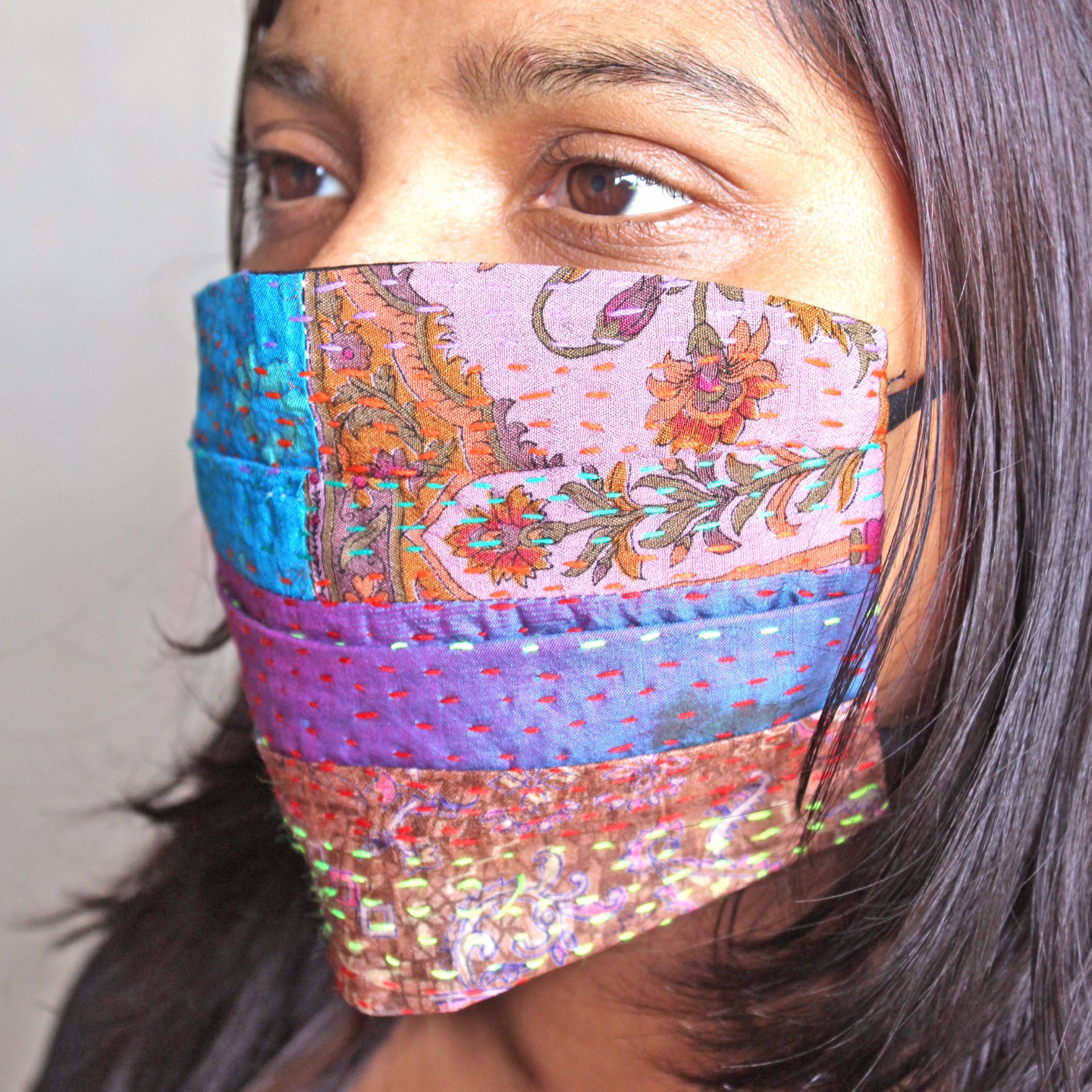 Reusable Kantha Mask Set of 2