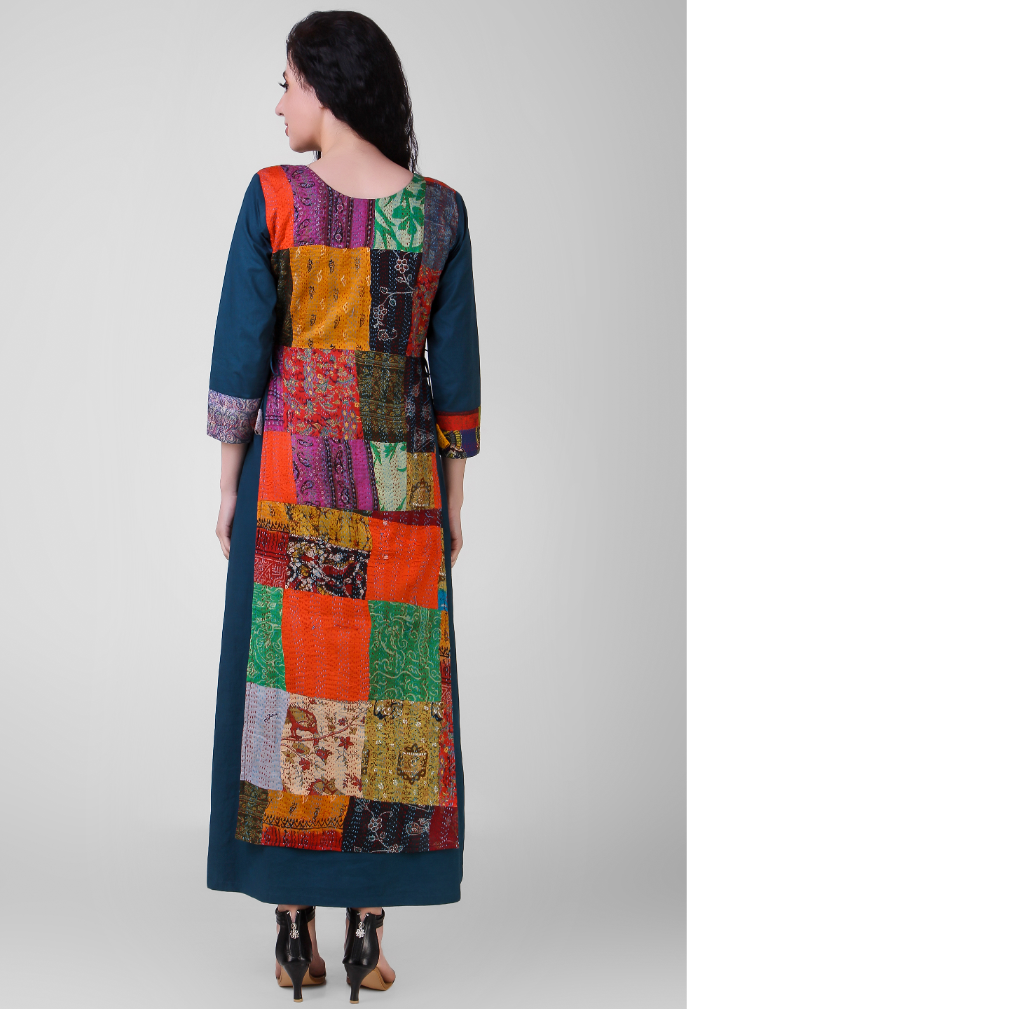 Teal Layered Cotton-silk Dress with Kantha Embroidery